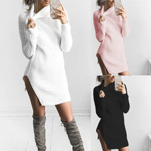 Womens Turtleneck Knitted Long Sleeve Bodycon Party Ladies Cocktail Mini Dress Plus Size 3 Colors Sexy Dress Vestidos Femininos