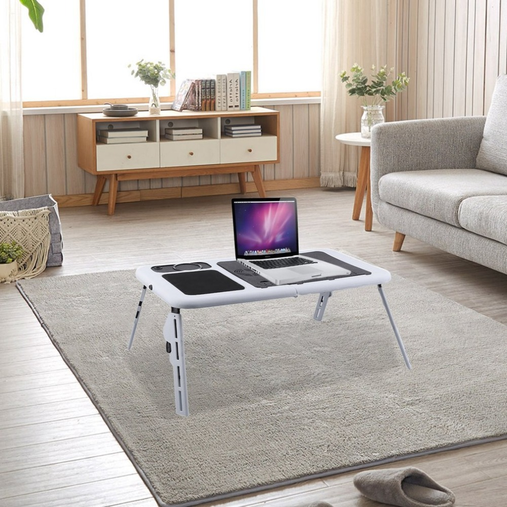 AOTU Folding Plastic Notebook Computer Desk Table Stand Bed Tray With USB Fan Cooling светильник уличный с датчиком движения globo projecteur 34117s