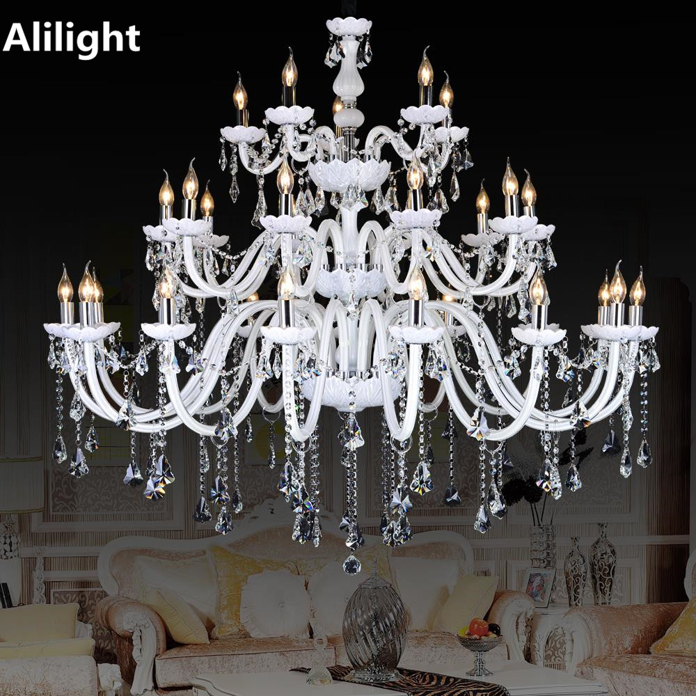 Modern large crystal chandeliers white color luxury fancy lamp modern large crystal chandeliers white color luxury fancy lamp lighting fixtures for foyer dining living room decoration lights in chandeliers from lights arubaitofo Image collections