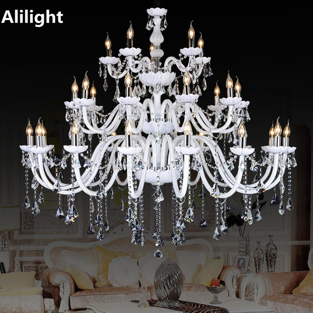 Modern Large Crystal Chandeliers White Color Luxury Fancy Lamp Lighting Fixtures For Foyer Dining Living Room