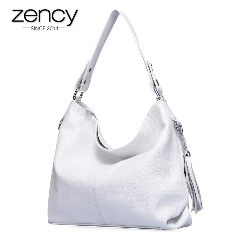 2017 New Fashion Soft Real Genuine Leather Tassel Women's Handbag Ladies Shoulder Tote Messenger Bag Purse Satchel Black White on AliExpress
