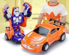 Children a wireless electric remote control car key deformation robot boy gift transformer font b toy