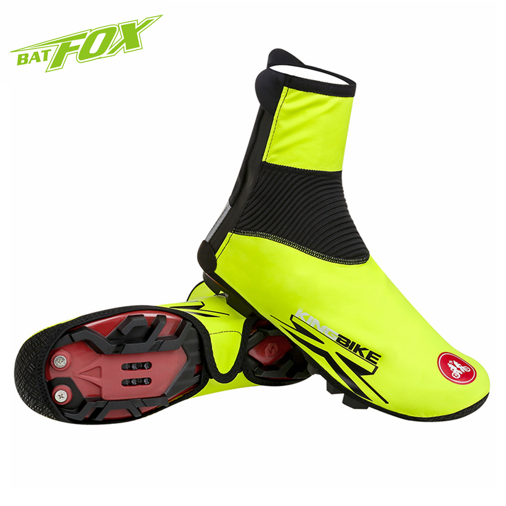 BATFOX Cycling Shoe Cover Winter Thermal Windproof Bike Overshoes Waterproof Bike Shoe Cover MTB Road Bicycle Cycling Overshoes