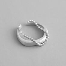 Real 925 sterling silver brushed double-layer beads chain rings for women fine jewelry, fashion silver 925 ring woman party real retro 925 sterling silver open rings for women hollow twisted chain ring fashion sterling silver jewelry