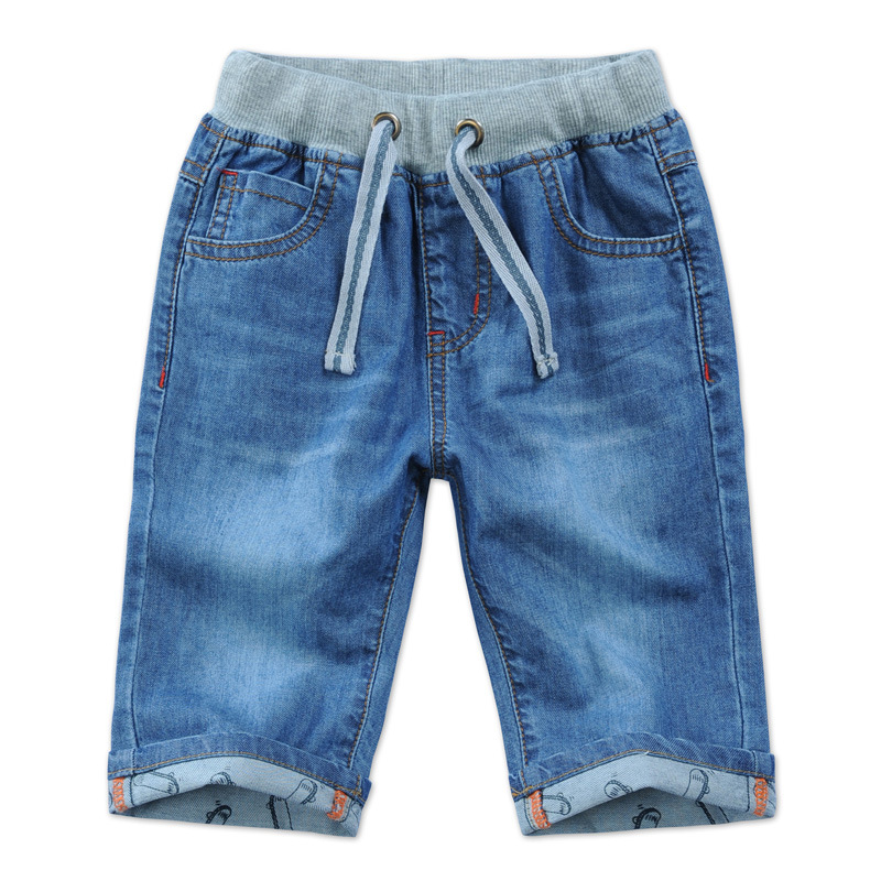 2018 new summer boys jeans denim shorts 50% length blue cotton boys jeans child clothes elastic waist kids shorts boys DQ276 color block elastic waist selvedge embellished basketball shorts