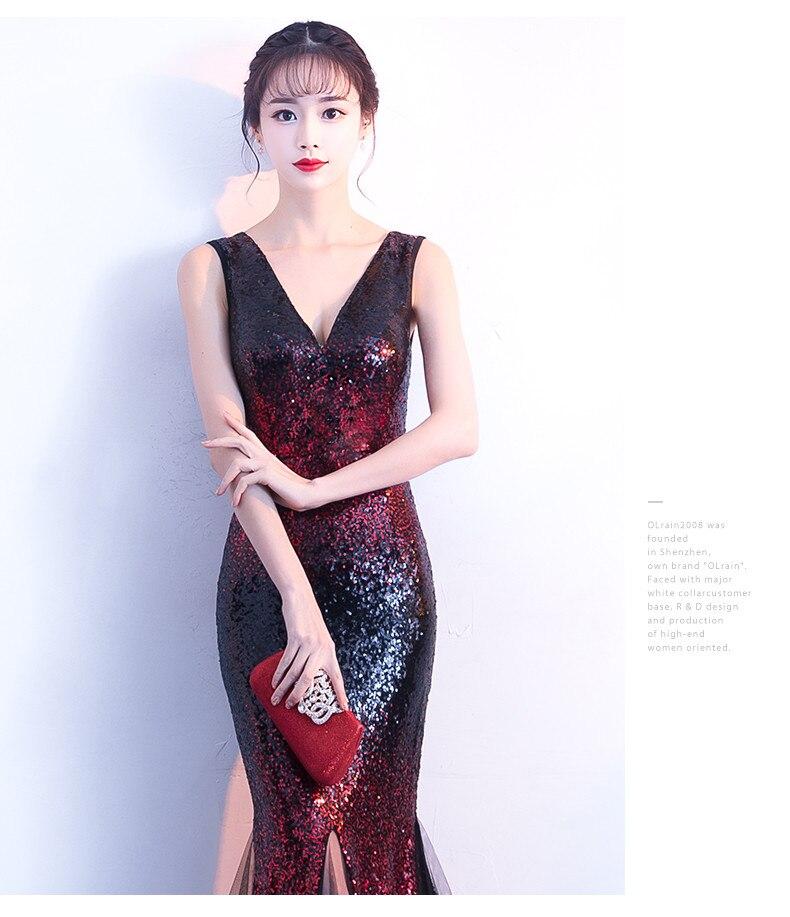 Robes De soirée sirène longues 2019 paillettes Robe De soirée Sexy col en v robes De bal Elie Saab robes Abiye - 6