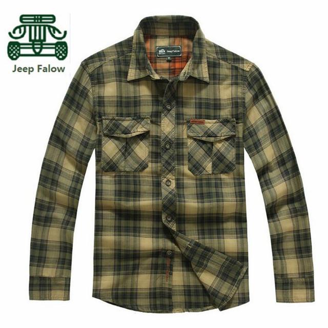 AFS JEEP Falow Preços Por Atacado marca Original dos homens de Alta Qualidade Ocasional de Algodão Xadrez Camisa de Manga Completo, Verde Do Exército/Camisas vermelhas Homens