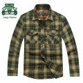 AFS JEEP Falow Wholesale Price Original brand High Quality Men's Casual Plaid Cotton Full Sleeve Shirt,Army Green/Red Shirts Men