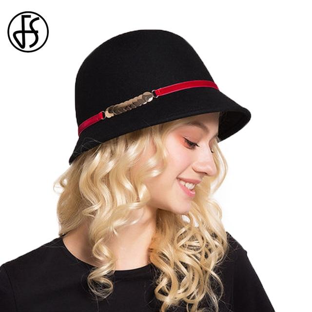 FS Wool Hats Woman Vintage Cloche Hat Female Winter Felt Fedoras Wide Brim  Church Fedora Black Bowler Hoeden Voor Vrouwen 7d8f19dd45a6