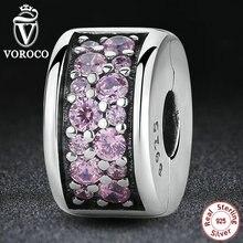 925 Plata Esterlina Brillante Elegancia Brillante Clip, clear cz encantos fit pandora pulsera de perlas para las mujeres diy joyería s311