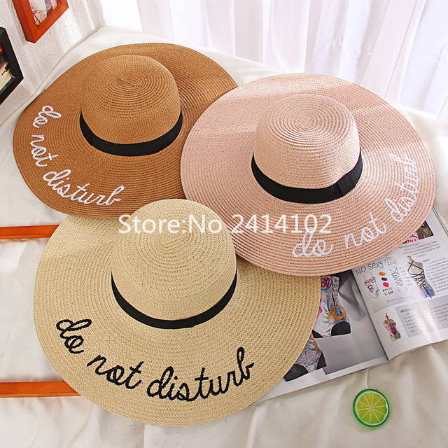 Summer Straw Large Brim Letter Sequin Embroidery Hats Eugenia Kim Floppy Hat  Girl Sunny Do Not Disturb Ladies Straw Boho Cap 7140a361722c