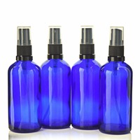 4 X 100ml Cobalt Blue Glass Spray Bottle Containers With Fine Mist Sprayers For Aromatherapy Spritzer