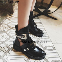 Summer cut-out leather ankle boots gold sliver buckles hardware boot punk shoes classic Biker boots round toe motorcycle sandals