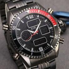Купить с кэшбэком 6.11 Mens New Fashion Full Steel Dual Color Mirror Bezel Multifunctional Waterproof Backlight LED Digital Watch Men Sport Watch