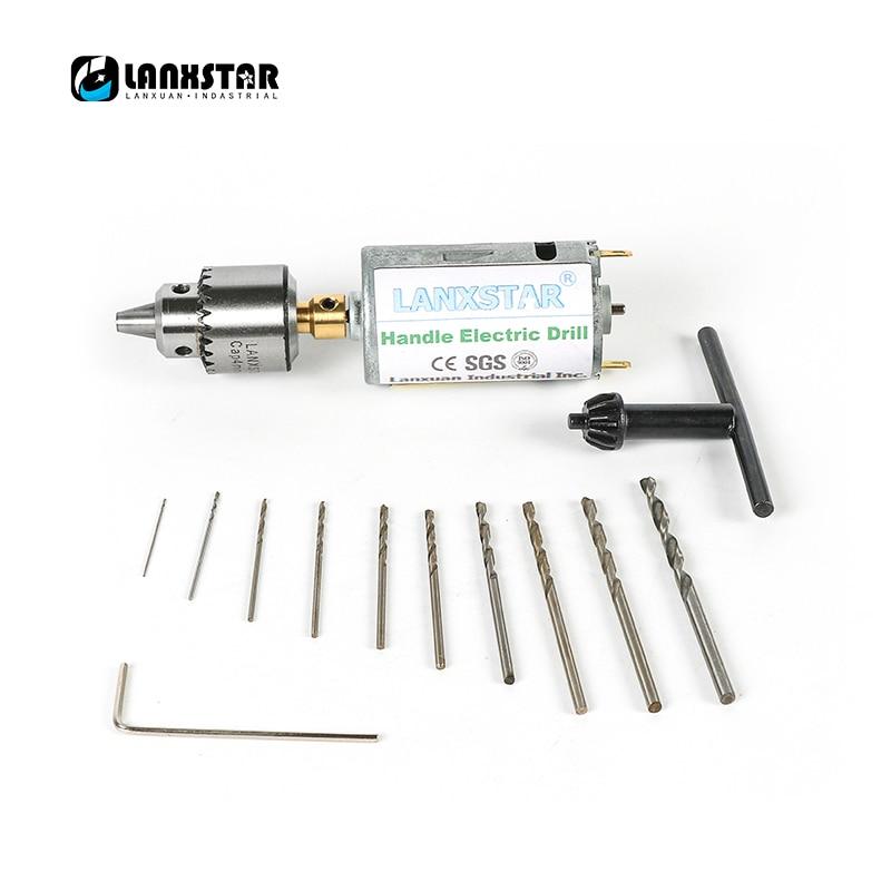 Mini DC 12V  Hand Electric Drill PCB Motor Press Drilling Compact Set 0.5-3mm Twist Bits 0.3-4mm JT0 Chucks Miniature Drill