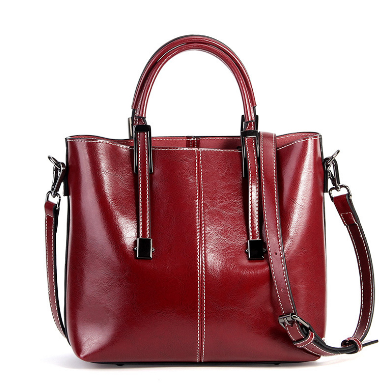 Classic Genuine Leather Handbag for Women Luxury Female Crossbody Bags Designer High Quality Oil Wax Leather Ladies shoulder Bag chispaulo brand women handbag high quality oil wax leather ladies shoulder bags vintage female bags