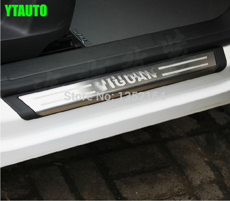 Soleiras da porta automática/placa do peitoril scuff placa para volkswagen tiguan 2010-2014, aço inoxidável, acessórios do automóvel, estilo do carro