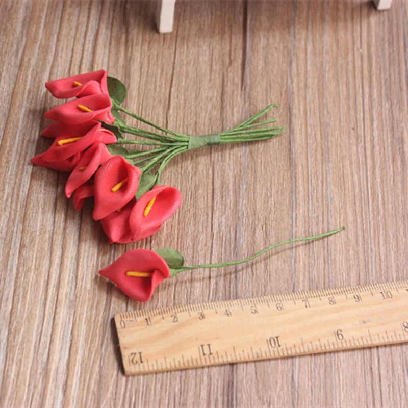 Envío Gratis 2,0 cm cabeza Multicolor hecho a mano de espuma pe de Calla Lily flor ramo Scrapbooking artificial flores de lirio 12 unids/lote