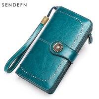 Sendefn New Vintage Button Phone Purses Women Wallets Female Purse Leather Brand Retro Ladies Long Zipper Wallet Women 5162 68