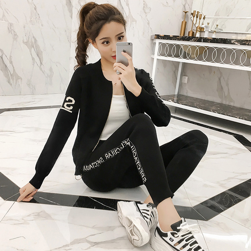 83eed28af Two Piece Sweatsuits for Women 2019 Autumn Winter Fashion Knitted ...