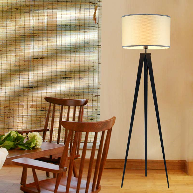 Online buy wholesale tripode floor lamp from china tripode floor chinese tripod floor lamp modern bedroom living room deco light black iron flaxen fabric lampshade home mozeypictures Choice Image