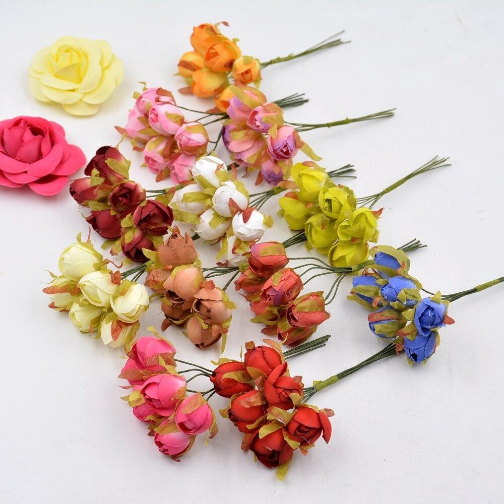 6 unids de seda rosa de té brote novia ramo de flores artificiales para el banqu