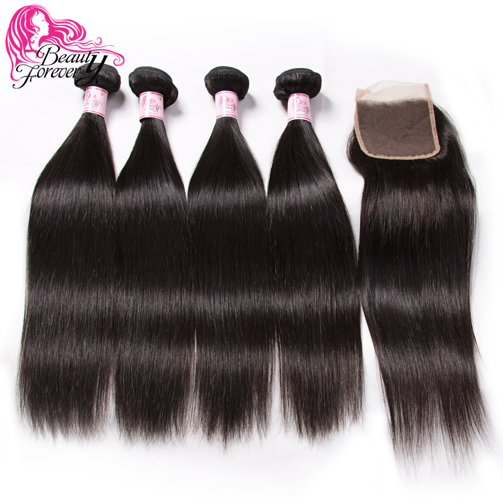 Beauty Forever Straight Hair Brazilian Human Hiar Bundles With 4 4 Lace Closure Free Middle Three