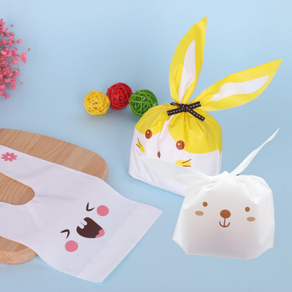 Cute Easter Bunny Cookies Bag Wedding Decoration Kawaii Rabbit Ear Plastic Candy Bag Easter Decorations For Home