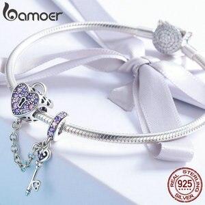 Image 3 - BAMOER 100% 925 ayar gümüş anahtar kalp kilit kristal CZ zincir Charms Fit Charm bilezikler & kolye zincir takı SCC772