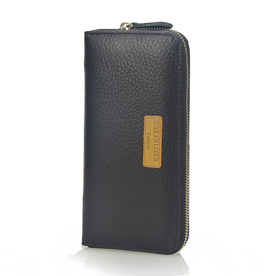 Dreamlizer Brand Design Genuine Leather Men Clutch Wallet Brown Black Leather Long Business Purses Male Card Holder Coin Bag 2016 famous brand new men business brown black clutch wallets bags male real leather high capacity long wallet purses handy bags