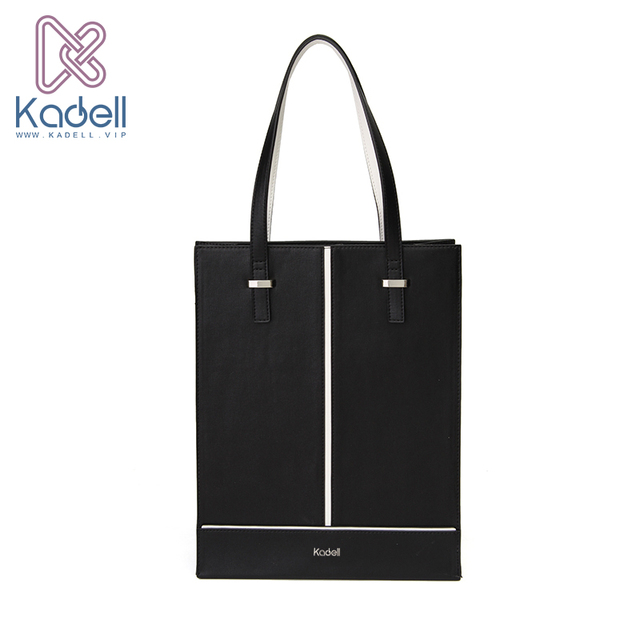 Kadell New Luxury Handbags Women Bags Designer 2018 Office Lady Vertical Shoulder Bags Black White PU Leather Casual Tote Bag
