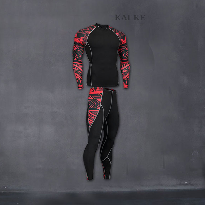 tracksuit for men 2019 mma rash guard male union suit long sleeve thermal knitwear compression clothing thermal underwear XXXXL