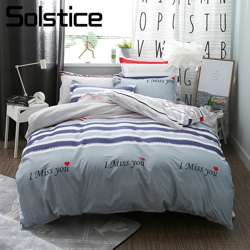 Solstice Home Textile Gray Stripe Duvet Cover Bed Sheet Pillowcase Girl Kid Teen Nordic Sport Bedding Set Queen Full Linen Suits