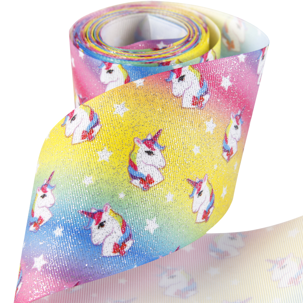 David accessories 3 75mm Merry Christmas bird flowers unicorn polyester ribbon 50 yards DIY hairbows materials