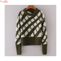 Women Bright Color Leisure Thick Slanted Block Long Sleeve Pullovers Girls Preppy Style Winter Warm Bottoming