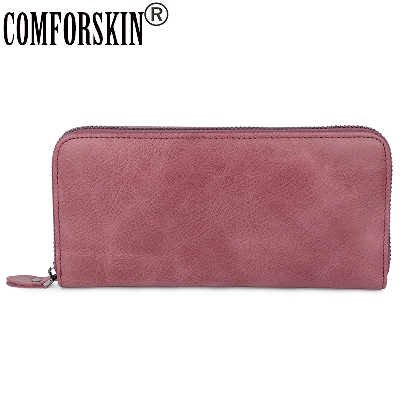 COMFORSKIN Billetera Mujer 2018 New Arrivals Genuine Leather Large Capacity Women Wallets Hot Vintage Style Feminine Purse