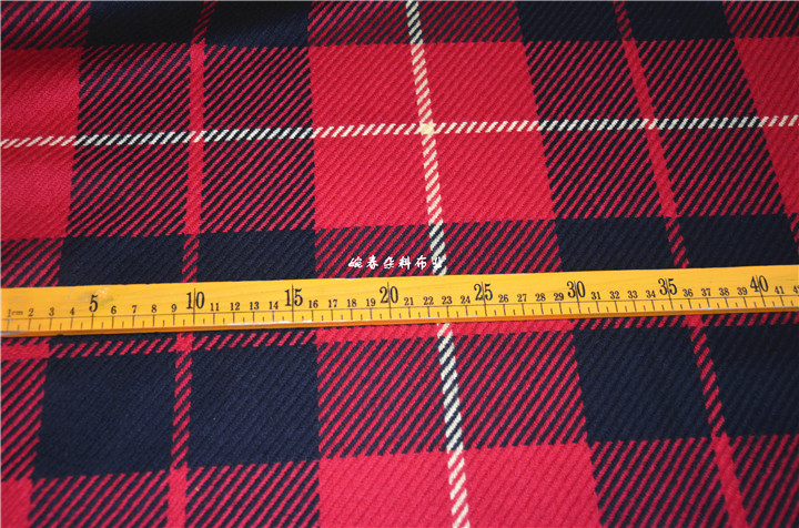 free ship 55% wool check tweed twill fabric color weaved pattern price for 1 meter