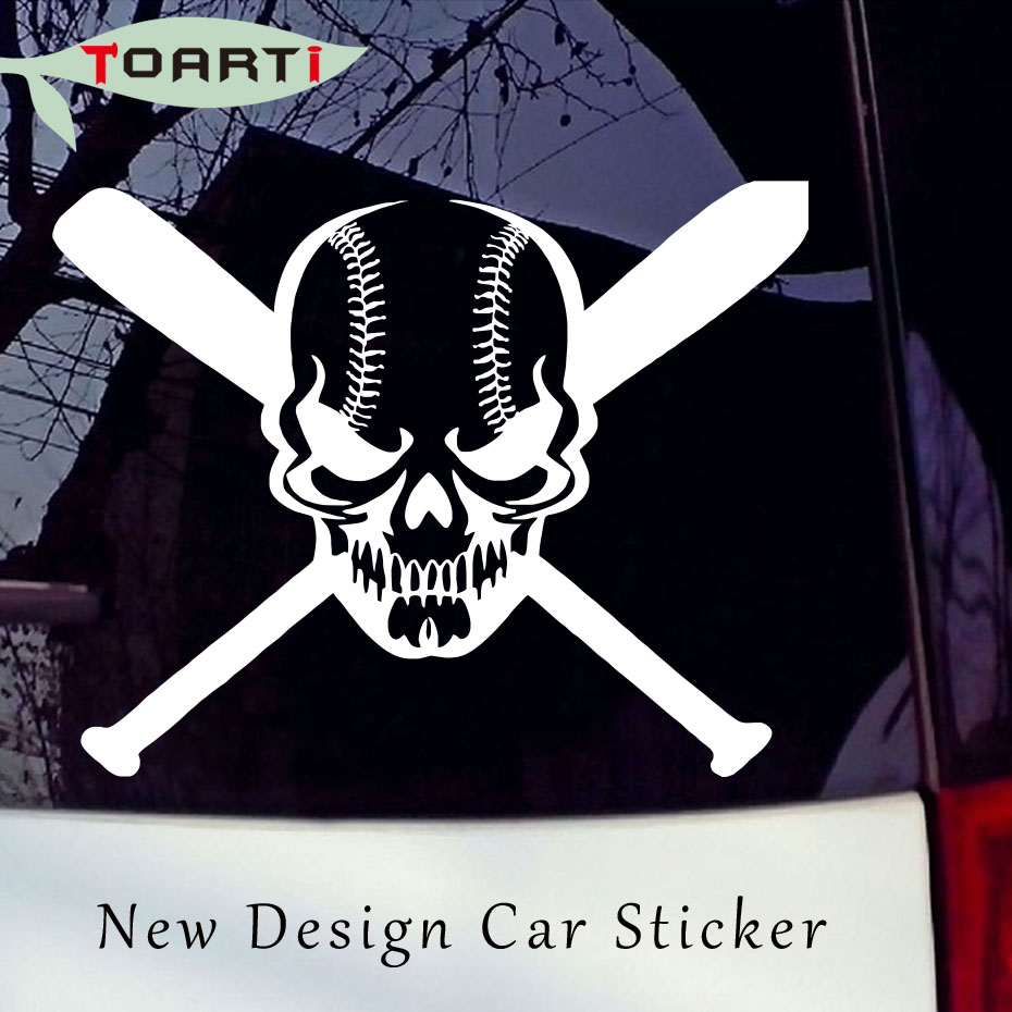 Skull Baseball Bat Game Sports Car Windoe Bumper Laptop Decals Funny Auto Sticker Creative Design Car Styling Accessories