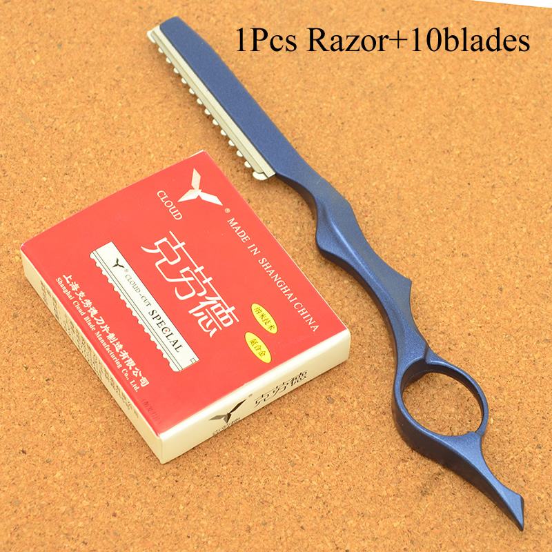 Meisha 1PCS Stainless Steel Hair Thinning Razor 10pcs Blades Salon Hairdressing Cutting Removal Tools Change Blade Knife HC0008 in Razor from Beauty Health