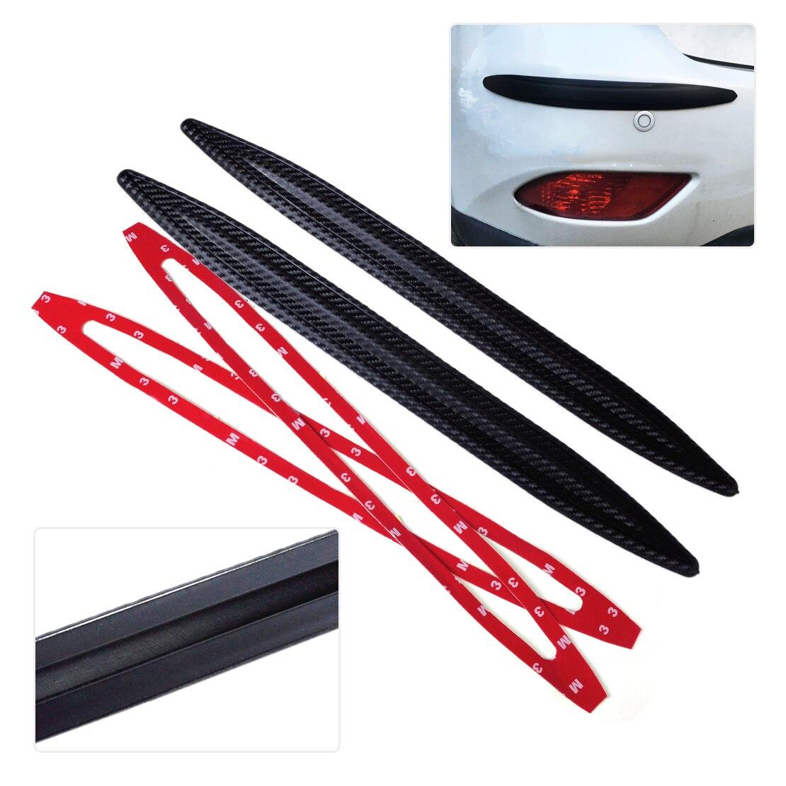 DWCX 2Pcs 42cm Carbon Fiber Rubber Front Rear Bumper Edge Protector Corner Guard Anti-rub Scratch Sticker Cover for SUV Car