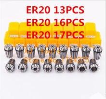 Conjunto de braçadeira, frete grátis er20 13 peças 1 mm a 13 mm faixa para moagem cnc máquina de gravura motor eixo.