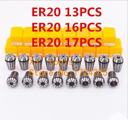 Juego de abrazaderas ER20, 13 uds, rango de 1 mm a 13 mm para herramienta de fresado máquina de grabado CNC eje del motor.