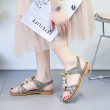 HKJL Summer gladiator sandals new Korean flat bottom water drill versatile student casual fashion A340