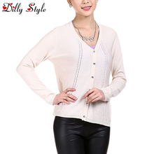 New Women Long Sleeve Knitted Cashmere Cardigan Sweater Women Casual Outerwear Long Sleeve Slim V-neck Warm Sweaters-DL1202