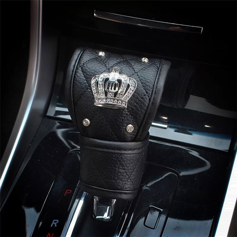 Fashion Crystal Crown Leather Car Gear Cover Auto Hand Brake Cover Shifter Gear Knob Cover Styling Car Interior Accessories in Gear Shift Collars from Automobiles Motorcycles