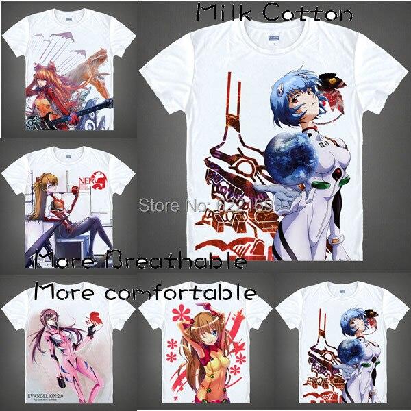2015 Для мужчин уникальная аниме футболка 3D печати Ева Евангелион Rei Ayanami короткий рукав Повседневное футболка Camisetas Masculina