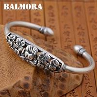 BALMORA 990 Pure Silver Hollow Flower Open Bangles For Women Lover Gift Thai Silver Jewelry About