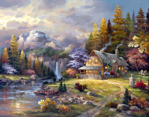 New Diy Diamond Painting Kits Set Handcraft Mountains Woods Cabin River Boat Oil Mosaic Pasted Decorative In Cross Stitch