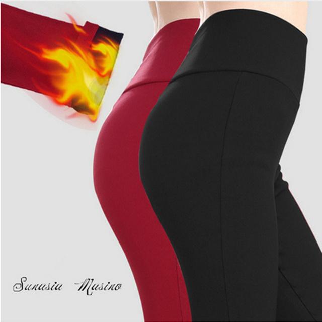 Mujeres de la marca Pantalones más el tamaño S-6XL, 5XL pantalones de cintura alta de invierno cálido terciopelo leggings de fitness legging párr mulheres académico