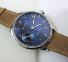New 44mm Parnis Hand Winding Mechanical Men s Wrist Watch Dark Blue Dial